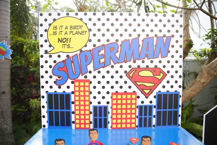 Superman backdrop from a Calling All Superheroes Birthday Party on Kara's Party Ideas | KarasPartyIdeas.com (6)
