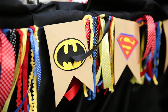 Superhero banner from a Calling All Superheroes Birthday Party on Kara's Party Ideas | KarasPartyIdeas.com (46)