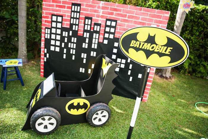 Batmobile from a Calling All Superheroes Birthday Party on Kara's Party Ideas | KarasPartyIdeas.com (45)