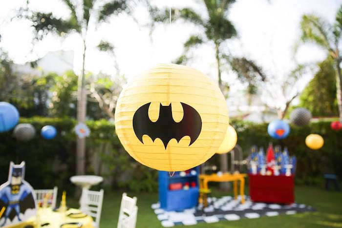 Batman paper lantern from a Calling All Superheroes Birthday Party on Kara's Party Ideas | KarasPartyIdeas.com (43)