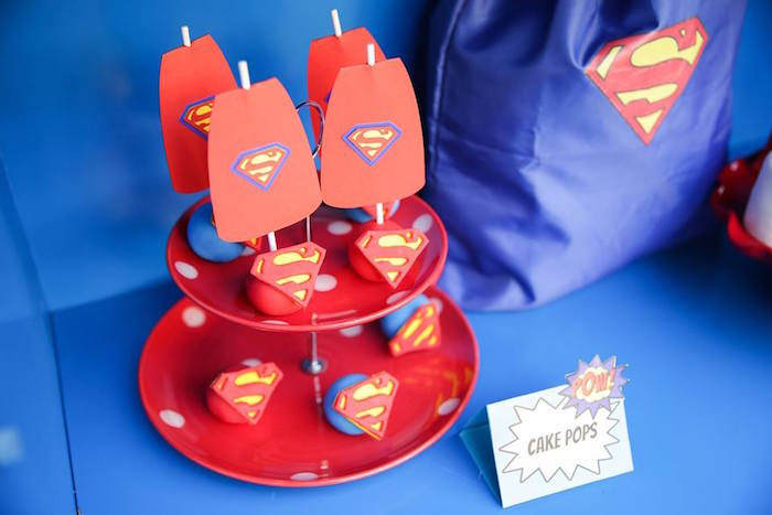 Superman cake pops from a Calling All Superheroes Birthday Party on Kara's Party Ideas | KarasPartyIdeas.com (42)