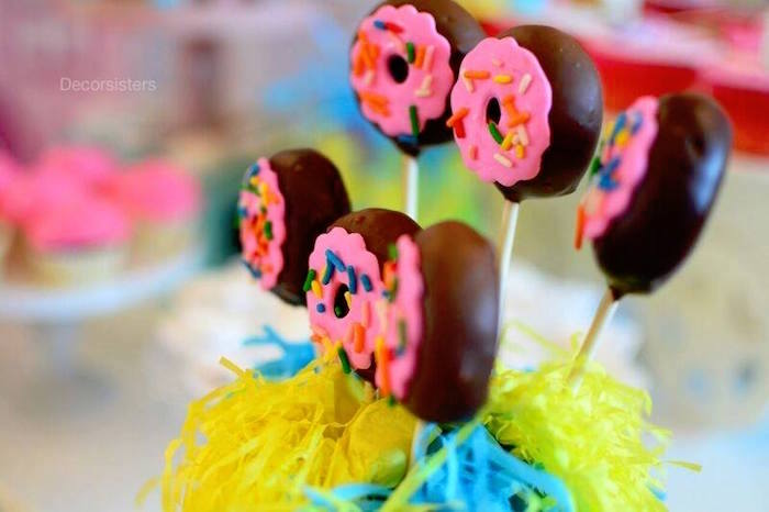 Sprinkled donut pops from a Donut pops from a Candy Land Birthday Party on Kara's Party Ideas | KarasPartyIdeas.com (11)