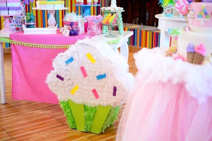 Cupcake pinata from a Candy Land Birthday Party on Kara's Party Ideas | KarasPartyIdeas.com (7)