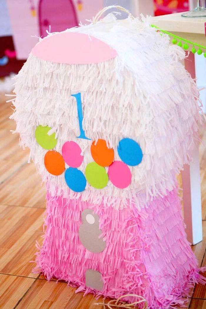 Gumball machine pinata from a Candy Land Birthday Party on Kara's Party Ideas | KarasPartyIdeas.com (5)