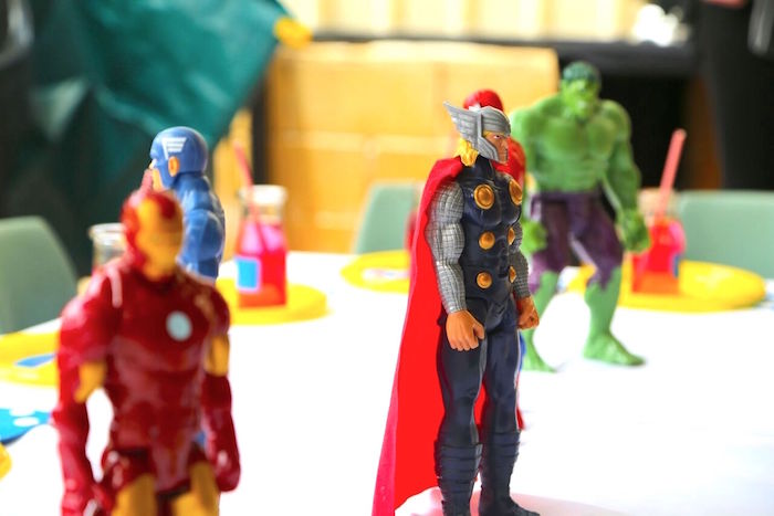 Superhero figurines from a Colorful Superhero Birthday Party on Kara's Party Ideas | KarasPartyIdeas.com (14)