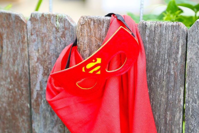 Superman cape and mask from a Colorful Superhero Birthday Party on Kara's Party Ideas | KarasPartyIdeas.com (7)