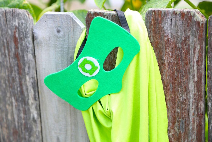 Green Lantern cape and mask from a Colorful Superhero Birthday Party on Kara's Party Ideas | KarasPartyIdeas.com (6)