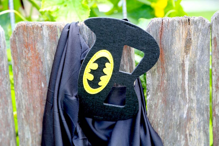 Batman cape and mask from a Colorful Superhero Birthday Party on Kara's Party Ideas | KarasPartyIdeas.com (5)
