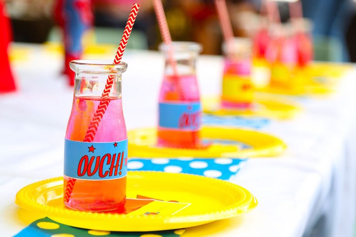Superhero drink bottle from a Colorful Superhero Birthday Party on Kara's Party Ideas | KarasPartyIdeas.com (23)