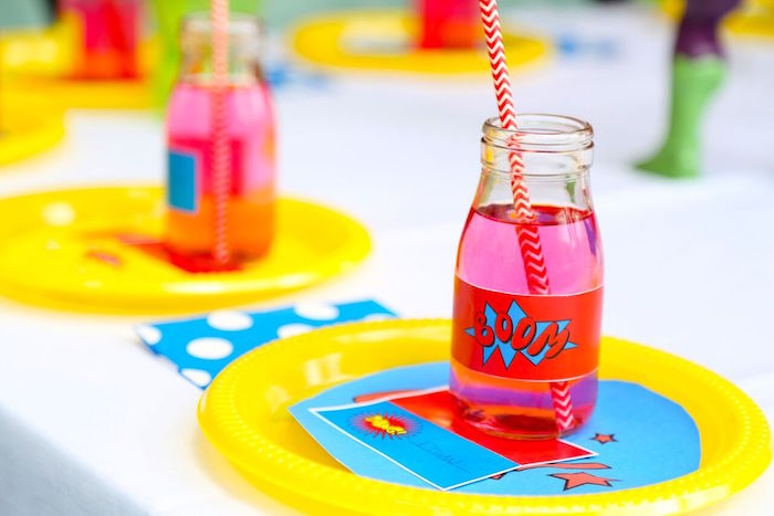 Place setting from a Colorful Superhero Birthday Party on Kara's Party Ideas | KarasPartyIdeas.com (22)