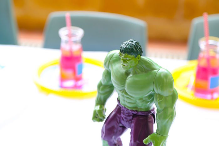 Incredible Hulk table decoration from a Colorful Superhero Birthday Party on Kara's Party Ideas | KarasPartyIdeas.com (21)
