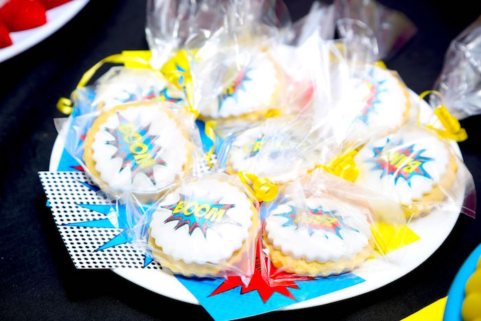 Expression cookies from a Colorful Superhero Birthday Party on Kara's Party Ideas | KarasPartyIdeas.com (20)
