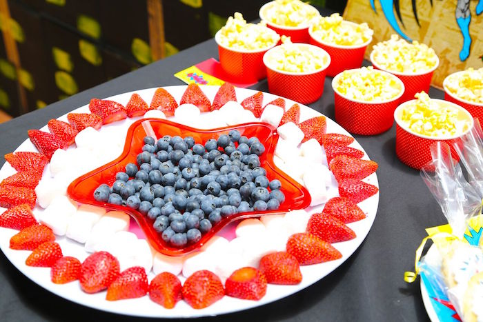 Captain America Fruit Shield from a Colorful Superhero Birthday Party on Kara's Party Ideas | KarasPartyIdeas.com (19)