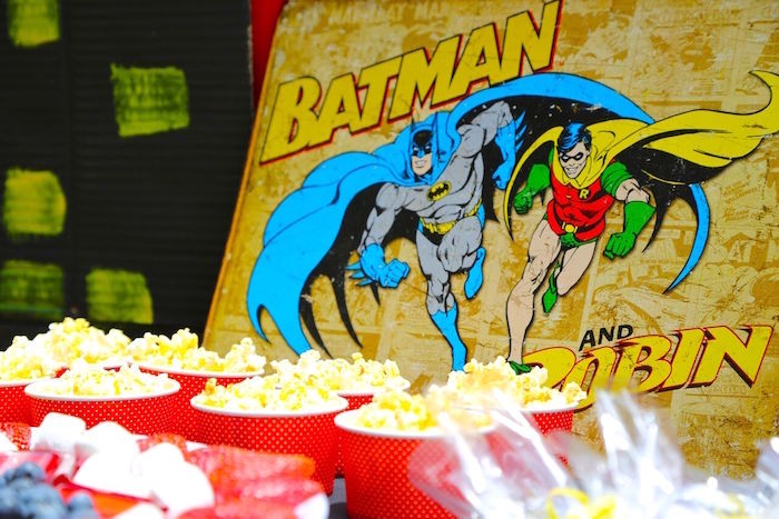 Batman & Robin party signage & popcorn cups from a Colorful Superhero Birthday Party on Kara's Party Ideas | KarasPartyIdeas.com (18)