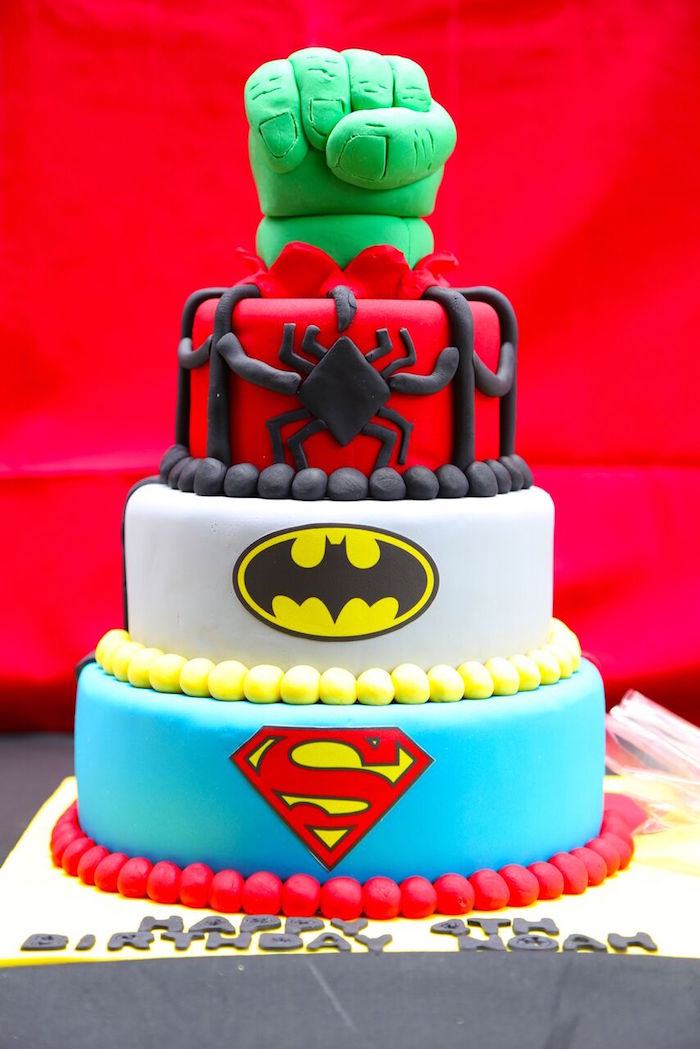 Kara S Party Ideas Colorful Superhero Birthday Party