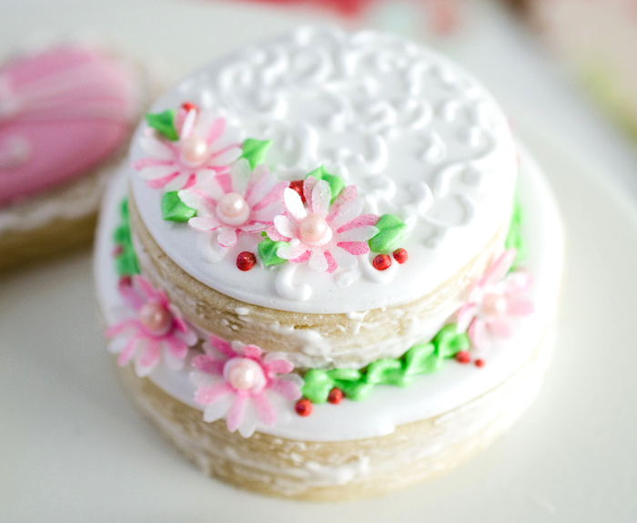 Stacked floral cookie cake from a Dolly and Me Valentine Tea Party on Kara's Party Ideas | KarasPartyIdeas.com (12)