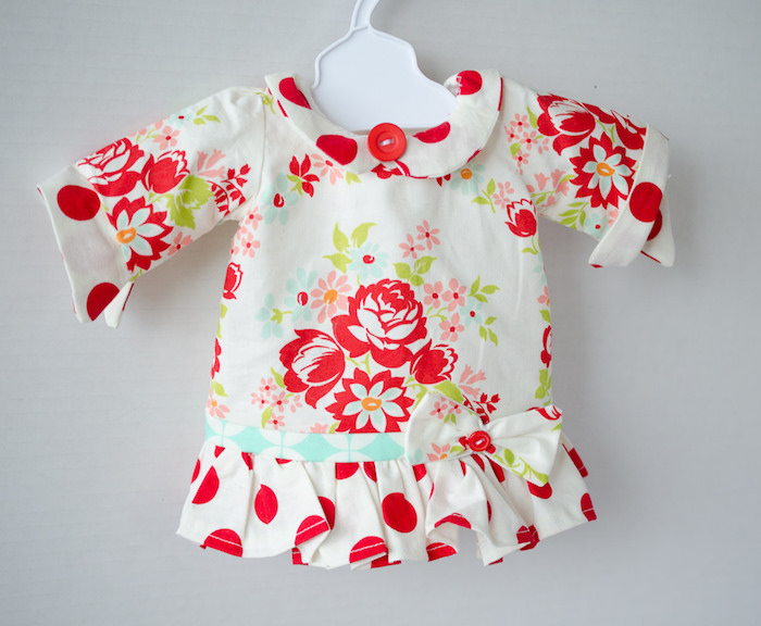 Polka dot and floral doll dress from a Dolly and Me Valentine Tea Party on Kara's Party Ideas | KarasPartyIdeas.com (9)