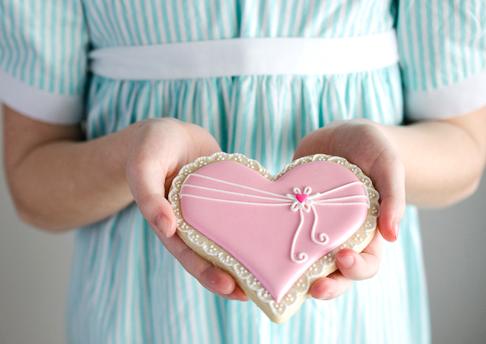 Heart cookie from a Dolly and Me Valentine Tea Party on Kara's Party Ideas | KarasPartyIdeas.com (7)