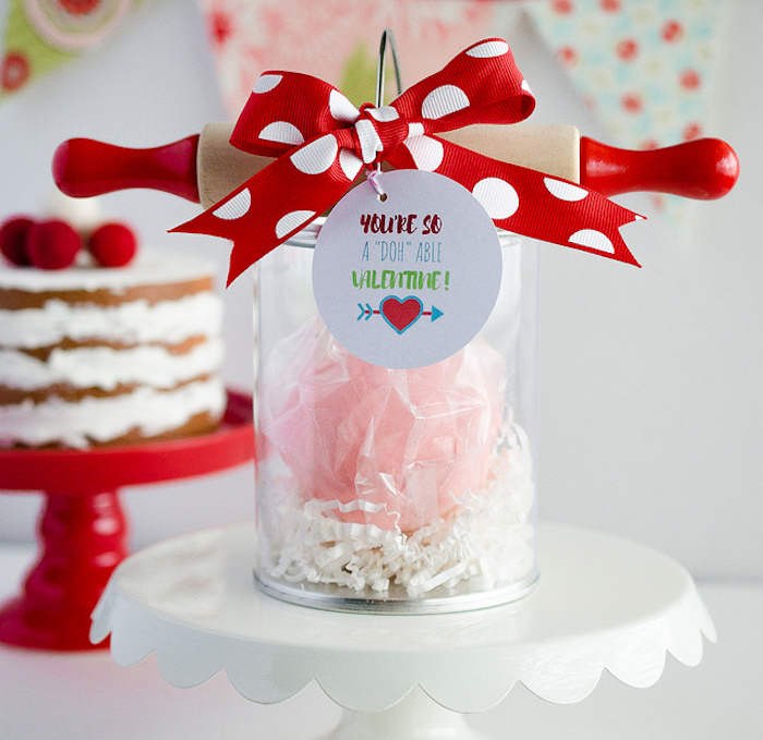 Cloud dough and rolling pin favors from a Dolly and Me Valentine Tea Party on Kara's Party Ideas | KarasPartyIdeas.com (24)