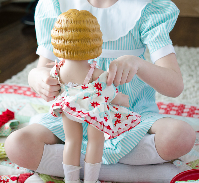 Dolly dress-up from a Dolly and Me Valentine Tea Party on Kara's Party Ideas | KarasPartyIdeas.com (2)