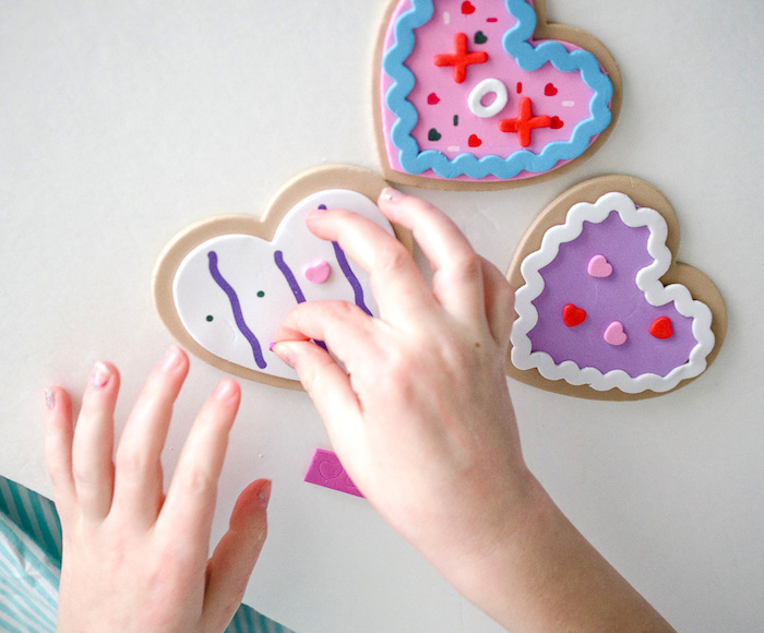 Foam heart sticker decorating from a Dolly and Me Valentine Tea Party on Kara's Party Ideas | KarasPartyIdeas.com (21)