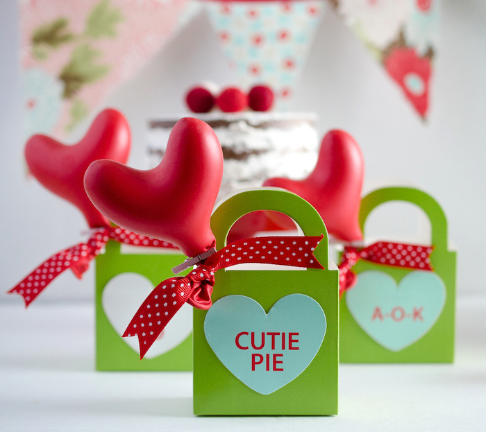 Conversation heart gift bags from a Dolly and Me Valentine Tea Party on Kara's Party Ideas | KarasPartyIdeas.com (19)