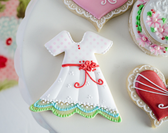 Dress sugar cookie from a Dolly and Me Valentine Tea Party on Kara's Party Ideas | KarasPartyIdeas.com (16)