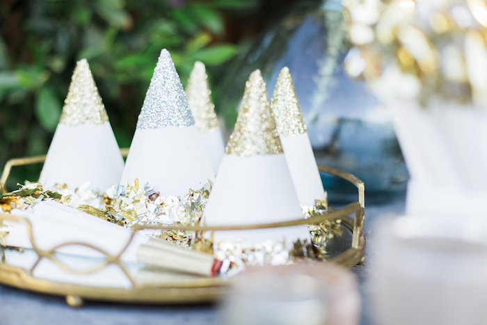 Glittered Party Hats From An Elegant Backyard 40th Birthday On Karas Ideas