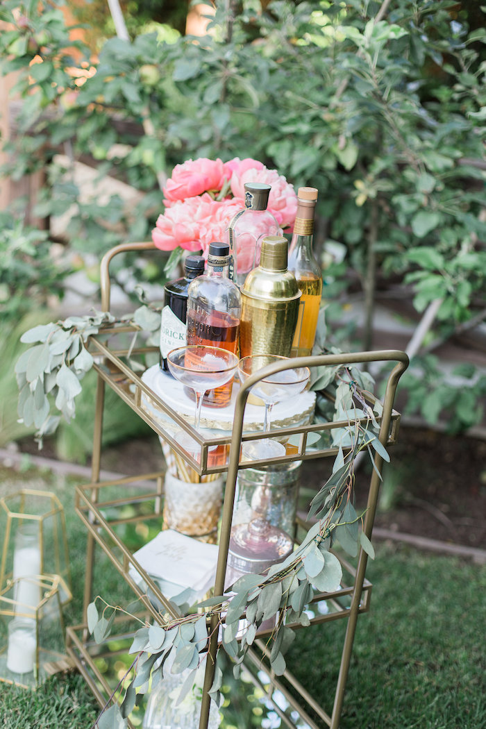 Drink cart from an Elegant Backyard 40th Birthday Party on Kara's Party Ideas | KarasPartyIdeas.com (15)
