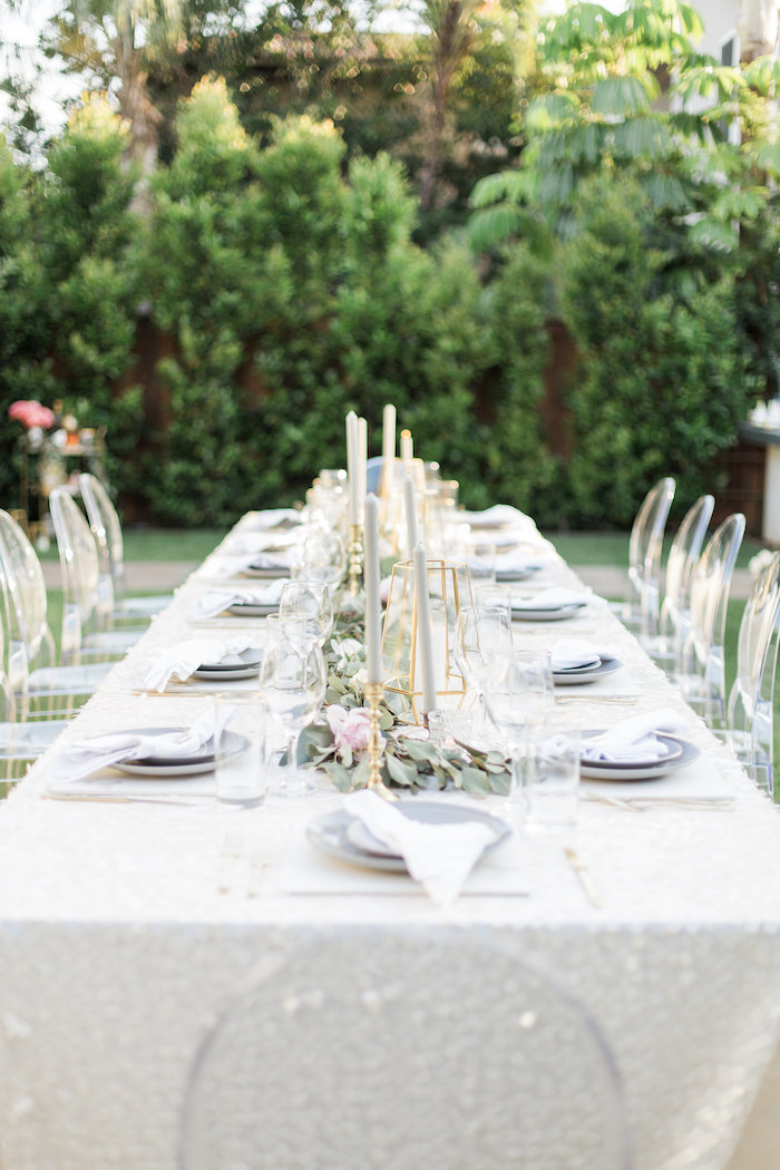 Guest Table From An Elegant Backyard 40th Birthday Party On Karas Ideas