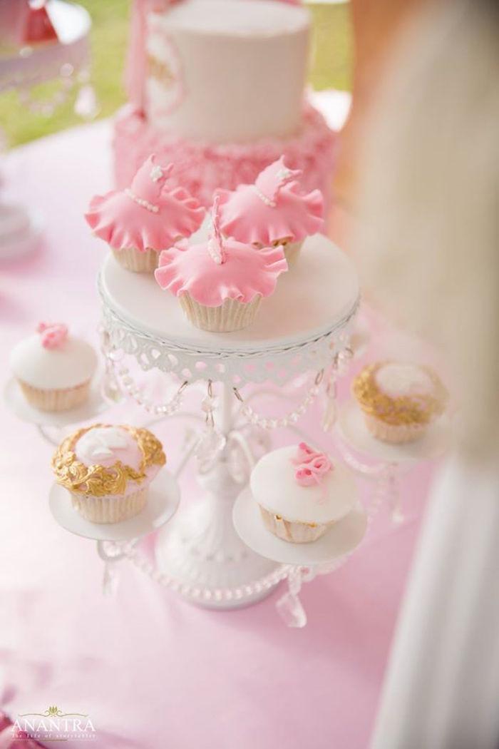 Cupcakes from an Elegant Ballerina Birthday Party on Kara's Party Ideas | KarasPartyIdeas.com (25)