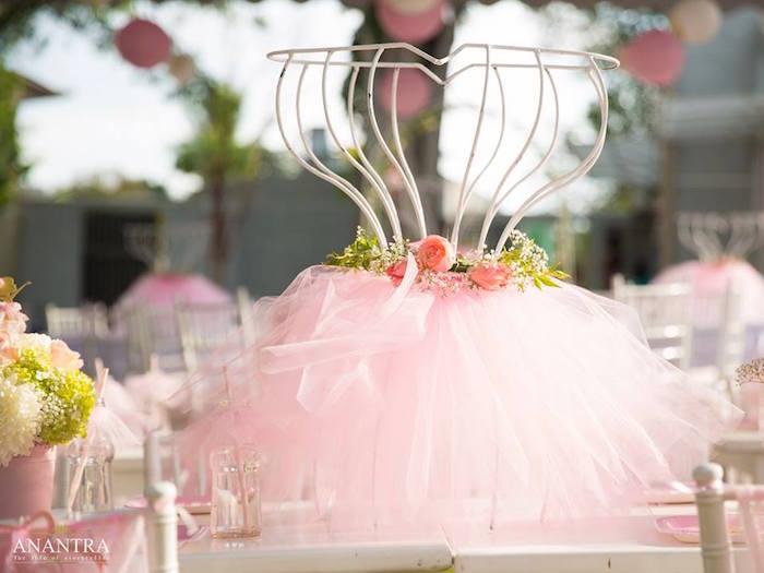 Wire ballerina form table centerpiece from an Elegant Ballerina Birthday Party on Kara's Party Ideas | KarasPartyIdeas.com (21)