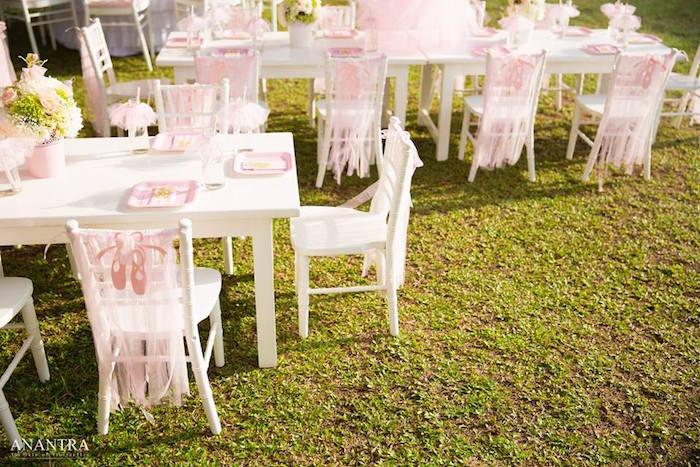 Guest tables from an Elegant Ballerina Birthday Party on Kara's Party Ideas | KarasPartyIdeas.com (20)