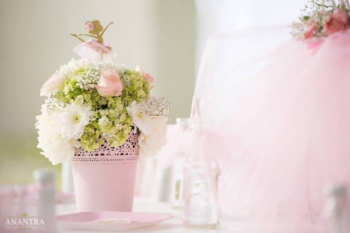 Floral ballerina centerpiece from an Elegant Ballerina Birthday Party on Kara's Party Ideas | KarasPartyIdeas.com (19)