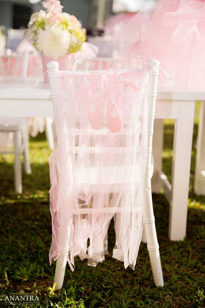 Tulle ribbon chair banner from an Elegant Ballerina Birthday Party on Kara's Party Ideas | KarasPartyIdeas.com (18)