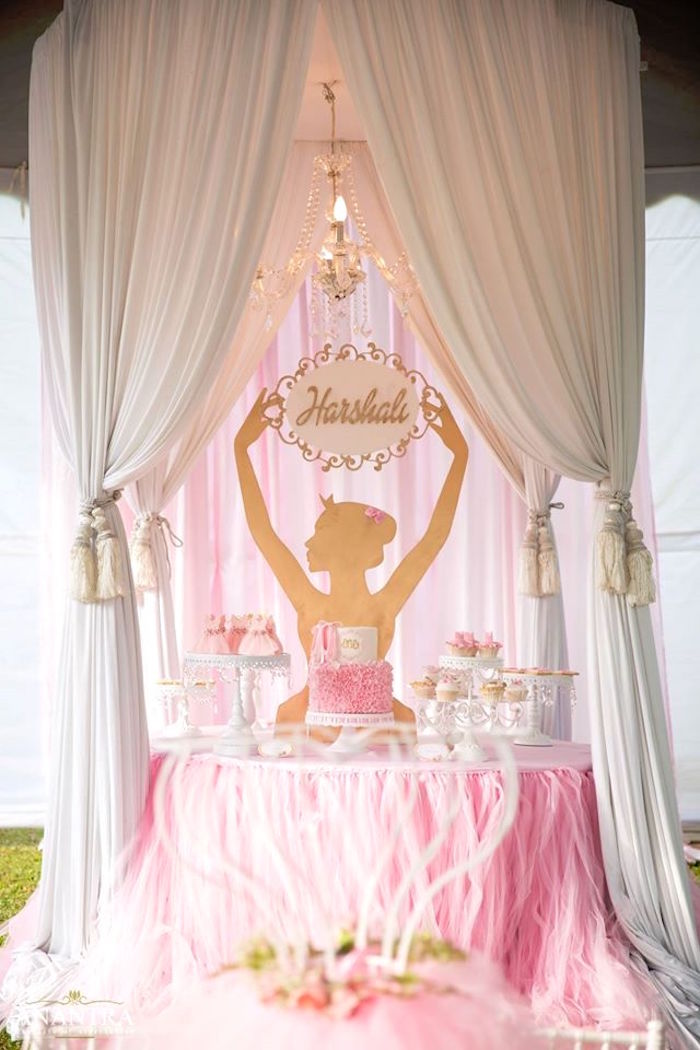 Kara 39 s party ideas elegant ballerina birthday party kara for Ballerina decoration