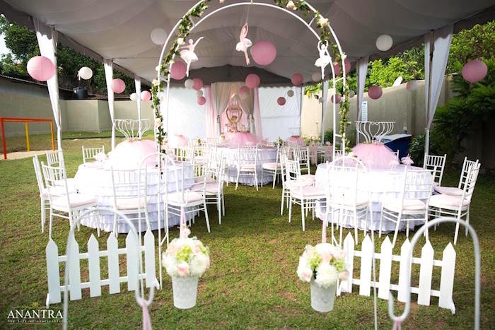Partyscape + guest tables from an Elegant Ballerina Birthday Party on Kara's Party Ideas | KarasPartyIdeas.com (5)
