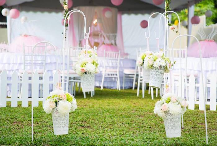 Floral shepherd hook walkway from an Elegant Ballerina Birthday Party on Kara's Party Ideas | KarasPartyIdeas.com (32)