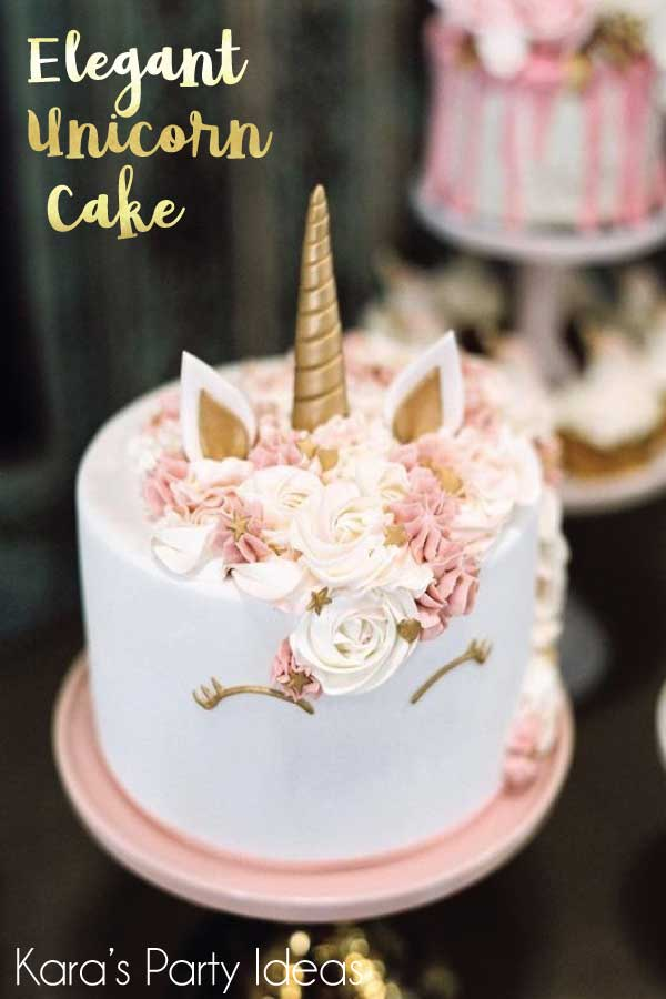 Elegant unicorn cake with pink flower mane and gold horn   Kara's Party Ideas