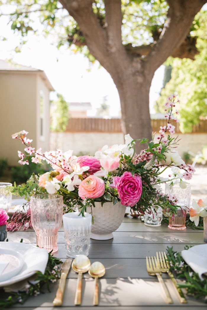 Floral arrangement from a Floral Easter Brunch on Kara's Party Ideas | KarasPartyIdeas.com (21)