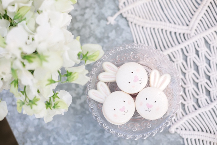 Bunny rabbit macarons from a Floral Easter Brunch on Kara's Party Ideas | KarasPartyIdeas.com (17)