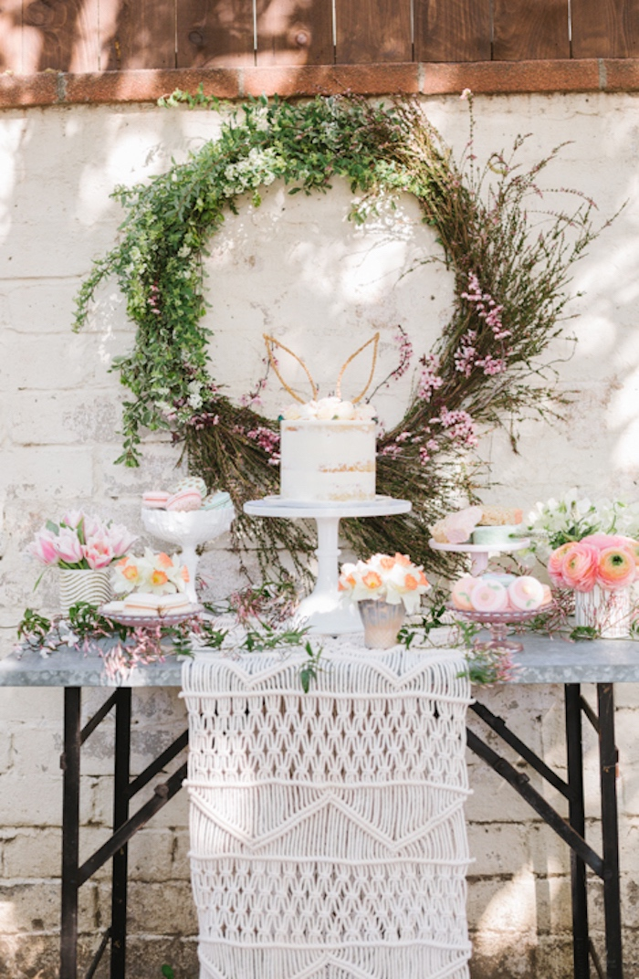 Full dessert table from a Floral Easter Brunch on Kara's Party Ideas | KarasPartyIdeas.com (15)