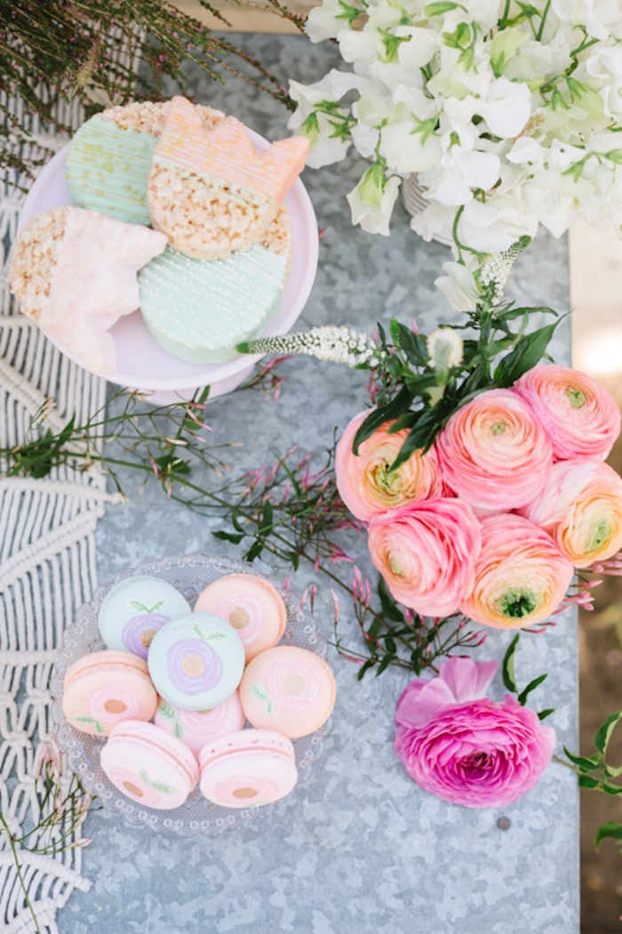 Tulip Rice Krispie Treats, flowers and macarons from a Floral Easter Brunch on Kara's Party Ideas | KarasPartyIdeas.com (14)