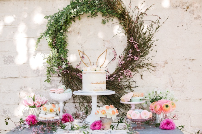 Dessert spread from a Floral Easter Brunch on Kara's Party Ideas | KarasPartyIdeas.com (12)