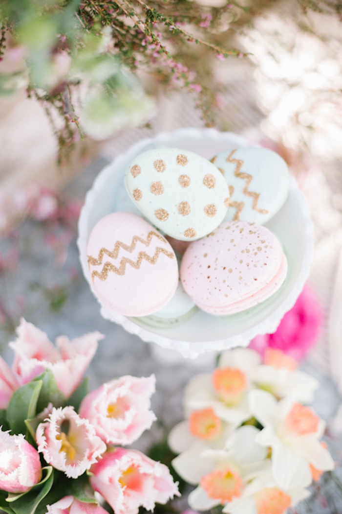 Easter Egg Macarons from a Floral Easter Brunch on Kara's Party Ideas | KarasPartyIdeas.com (11)