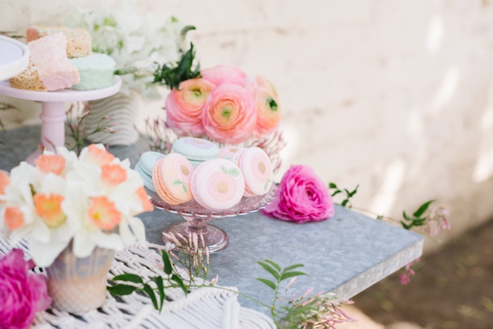 Macarons and flowers from a Floral Easter Brunch on Kara's Party Ideas | KarasPartyIdeas.com (7)