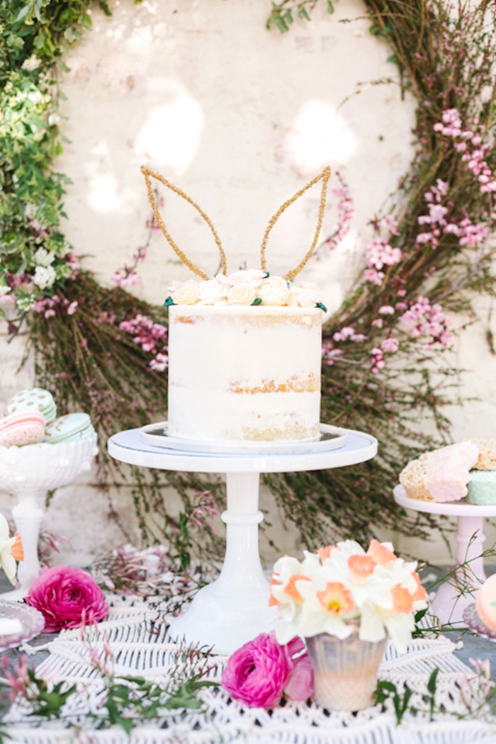 Semi-naked bunny rabbit cake from a Floral Easter Brunch on Kara's Party Ideas | KarasPartyIdeas.com (5)