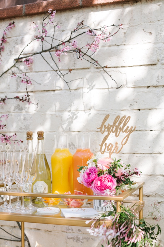 Bubbly bar from a Floral Easter Brunch on Kara's Party Ideas | KarasPartyIdeas.com (30)