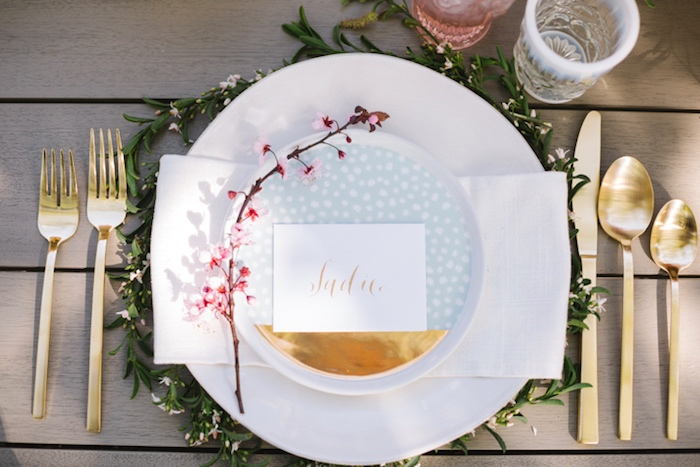Floral greenery place setting from a Floral Easter Brunch on Kara's Party Ideas   KarasPartyIdeas.com (27)