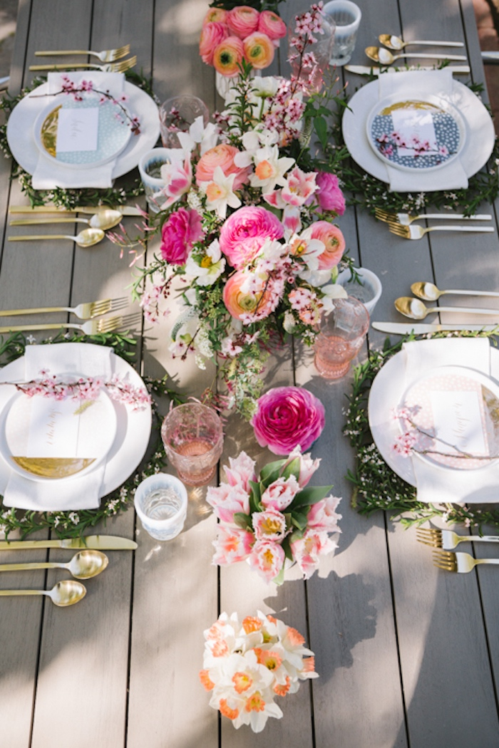 Guest tabletop from a Floral Easter Brunch on Kara's Party Ideas | KarasPartyIdeas.com (26)